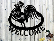 Rooster Welcome Sign - Metal Wall Art  Steel Wall Art 23 x 21.75 Great Gift  USA