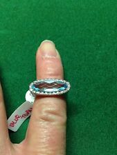 White Gold (18CT) Blue Topaz & Diamond Ring D 0.20CTS Size N
