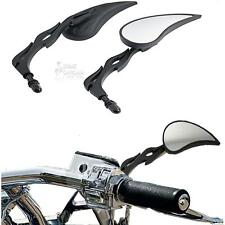 Black Flame Rearview Mirrors Motorcycle for Harley Davidson Cruiser Touring