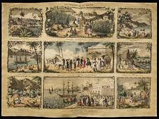 Rare 1853ca - Les colonies de la France - Planche encyclopédique, scolaire