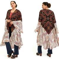 New 1X 14/16 Torrid Floral Mixed Media Boho Open Front Bell Sleeve Kimono Duster