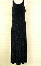 Womens Black Long Dress Sz 4 Evening Holiday Sparkle USA Night Way Collections