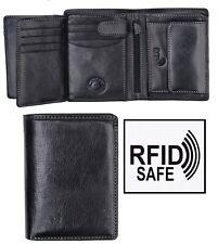 Cruz De Lujo Vertical Para hombres Cuero Negro Cartera Triple RFID Seguro Nuevo En Caja