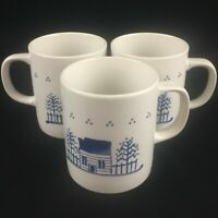 Set of 3 VTG Coffee Mugs Lillian Vernon White & Blue House Primitive 1984 Japan