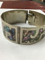 VINTAGE LADIES MOTHER OF PEARL STERLING SILVER BRACELET TAXCO, MEXICO @@@