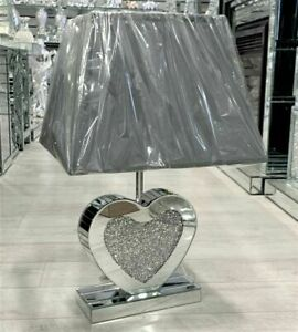 Mirrored Table Lamp Shade Crushed Diamond Crystal Heart Shaped Crystal Sparkly