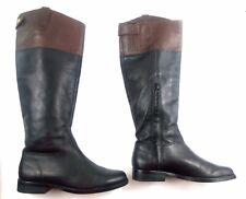 Ralph Lauren Womens Boots Janessa Black/Brown Knee High Riding Leather 2 Tone 5B