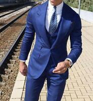 3 Pcs Men Slim Fit Blue Suit Custom Groom Groomsmen Wedding Party Tuxedo Custom