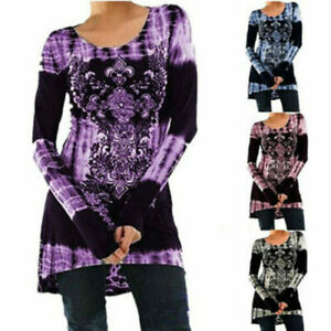 Plus Size Womens Long Sleeve Print T Shirt Ladies Casual Loose Tunic Tops Blouse