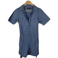 Sportsgirl Womens Jumpsuit Romper Size 8 Blue Short Sleeve Good Condition