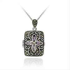 925 Silver Amethyst Marcasite Picture Locket Necklace, 18""