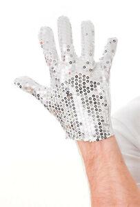Michael Jackson Silver Sequin Glove Fancy Dress Dance Accessory Unisex