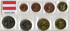 SERIE COMPLETA 8 MONETE EURO AUSTRIA 2002 _ fior di conio in blister