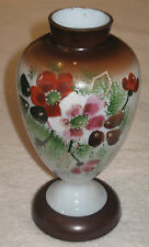 "Antique/Vintage Glass Vases  - Gilded & Enameled Floral/Foliate - 9"" Ht"