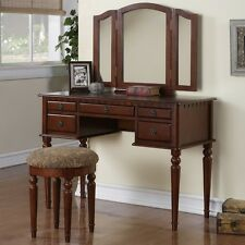 Tri Folding Mirror Vanity Set Makeup Table Dresser w/ Bench 5 Drawer Cherry Wood