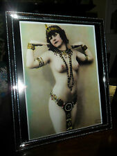 ART Deco Vintage Old Cleopatra egiziana nuda Lady argento IMMAGINE FOTO IN CORNICE