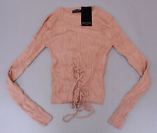 Nasty Gal Women's Right Lace-Up Your Alley Sweater LP7 Dusky Pink Small NWT