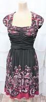 Maggie London Petites Women's Size 6P Black/Pink Ruched Knee Length Sheath Dress