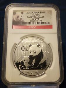 2012 NGC China Silver Panda MS70, 10 Yuan   Early Releases