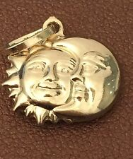 14k yellow Gold small 3d Puff Sun Moon Pendant Diamond Cut Woman Mens Unisex