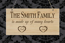 Wooden Handmade Personalised Plaque Our Family Hearts Gift Sign Present Chic