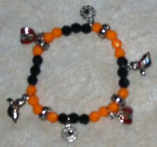 HALLOWEEN COSTUME JEWELRY CHARM BRACELET Beads Charms Orange and Black