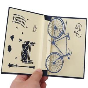 3D Laser Nostalgia Bicycle Greeting Card Popup Postcard Birthday Gift Cards KV