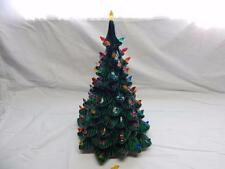 VINTAGE CERAMIC CHRISTMAS TREE CENTERPIECE WITH PLASTIC LIGHtS Collectible