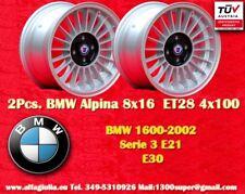 2 Cerchi BMW E30 E21 Alpine 8x16 ET28 4x100 Wheels Felgen Llantas Jantes TÜV