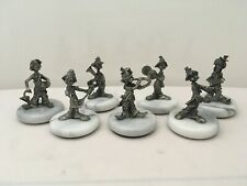 Vintage Set of 7 (seven) Pewter Musical Circus Clown Figurines on Marble Bases