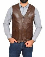 Mens Real Soft Leather Waistcoat Smart Casual Gilet Vest Black- Brown Colour NEW