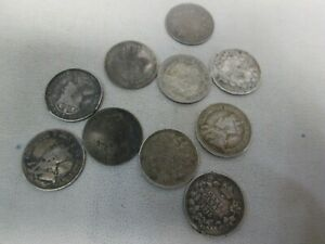TEN MIXED CANADIAN SILVER 5 CENT COINS