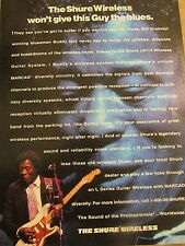 Buddy Guy, Shure Wireless, Full Page Vintage Promotional Print Ad