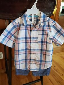 3 Piece Lot Carter's 4T button up shirt short Set, & Dinosaur Jogger Pants 4/5