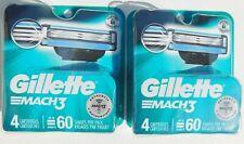 2 Packs Brand New Gillette Mach 3 Refill Blade Cartridges (8 Cartridges Total)