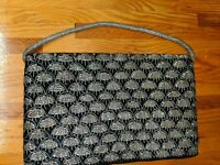 Women's Vintage Black & Gold Purse With Weaved Metal Accents