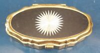 Vintage Gold Tone Pill Box with Two (2) Departments with Round Silver Design
