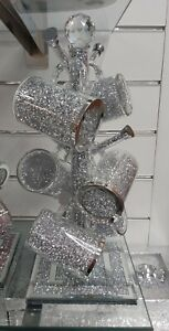 CRUSHED DIAMOND SILVER CRYSTAL MUG TREE HOLDER & 6 CRUSHED DIAMOND MUGS!