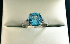 RING White GOLD-Size P Blue TOPAZ Brilliant Cut- Flawless 8.82mm dia 2.92 carats