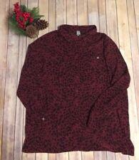 Sag Harbor Woman Brand Button Down Blouse Animal Print/maroon Sz 24W