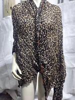 New Leopard Pattern Pashmina Silk Cashmere Shawl Scarf Stole Wrap Brown & Black