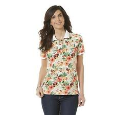 Women's Missy Laura Scott Button Polo Floral Tango Red Size X-LARGE NEW