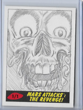2017 TOPPS MARS ATTACKS THE REVENGE SKETCH CARD BY ANTHONY SKUBIS 1/1