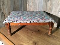 Antique Ottoman Footstool Upholstered And Wood Steel Band Springs  G5
