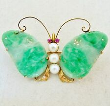 Antique Chinese 14K Gold Butterfly Brooch w/ Pearls & Green JADEITE Jade (10.4g)