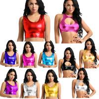 Sexy Women's Metallic Shiny Vest Tank Tops Disco Dance Crop Top Blouse Camisole