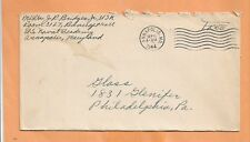 WW II  U.S MILITARY COVER NAVAL ACADEMY 1944 FREE CANCEL ANNAPOLIS MD