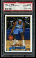2003-04 Topps Carmelo Anthony Rookie PSA 10 Gem Mint #223 RC Portland Blazers