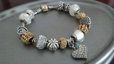 Authentic Pandora SSilver 14K Gold Charm Bracelet & European Charms Beads 8.3""