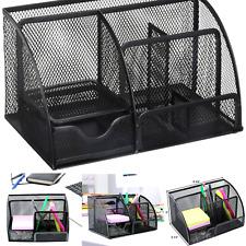 Greenco Mesh Office Supplies Desk Organizer Caddy, 6 Compartments, Black Large